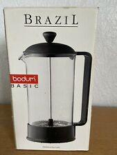 Bodum Brazil 8 Cup 1 Litre Cafetiere Black Lid & Handle Used But In Box  VGC