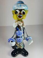"CLASSIC MULTI-COLOURED VINTAGE MURANO ART GLASS CLOWN FIGURINE 10"" TALL"