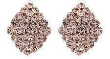 Pendientes de clip-Chapado en Oro con Cristales Oro De Lujo Arito-Elsie G