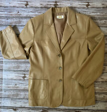 Talbots Tan Authentic 100% Leather Blazer Coat Woman Size 8 Light Brown