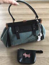 Quirky Rare Radley Tweed & Leather Grab Bag Handbag With Coin Purse 👜  👛 ❤️
