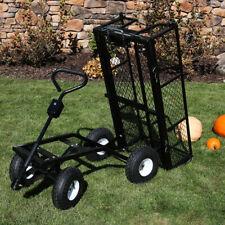 Sunnydaze Steel Dump Utility Garden Cart - 660 Pound Weight Capacity - Black