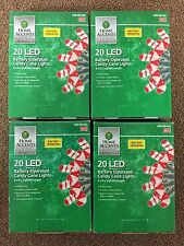 4 Boxes 20 LED Battery Operated Candy Cane Lights Christmas Red White Camping