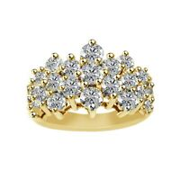 3.00CT Brilliant Created Diamond Cluster Engagement Ring In 14K Yellow Gold Over