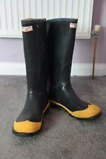 Century Vintage Rubber Wellington boots, size 12, black with yellow toecaps.