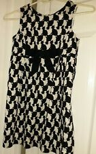 Lilly Pulitzer Cameo White Fancy Fest Black&White Cats Girls Shift Dress Sz 8