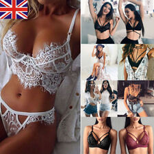 Women Lace Floral Bralette Bralet Bra Bustier Crop Top Cami Tank + Underwear Set
