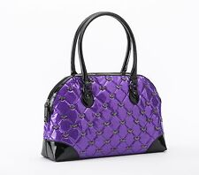 Rock Rebel GG Rose Mina Quilted Handbag with Bats Purple Glitter Goth Purse Bag