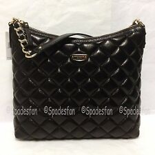 Kate Spade WKRU2563 Gold Coast Medium Serena Quilted Leather Bag Purse BLACK NWT