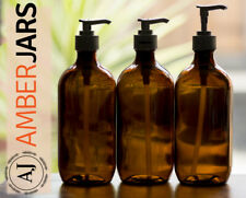 3 x 500ml Amber Glass  Bottle with Professional Quality Lotion Pump