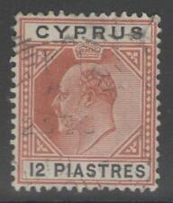 CYPRUS SG69 1906 12pi CHESTNUT & BLACK FINE USED