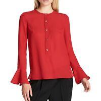 DKNY NEW Women's Bell-Sleeve Button Front Blouse Shirt Top TEDO
