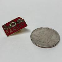 "Vintage Kansas Sunflower Pin Back Tie Tac  Lapel Hat Pin 3/4"" X 3/8"" Red #16"