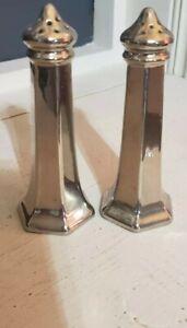 """Vintage Silver Finish Porcelain 4.5"""" Salt & Pepper Shakers Germany"""