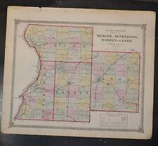 Original 1875 Map of Mercer Henderson Warren Knox Co Illinois 18.5x15.5 inch