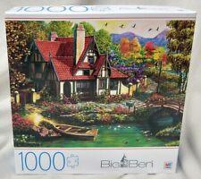 Milton Bradley Big Ben Riverside Cottage Jigsaw Puzzle 1000 Pieces Scenic NEW
