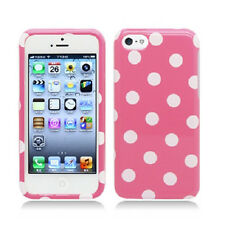 For Apple iPhone 5C HARD Protector Case Snap On Phone Cover Pink Polka Dots