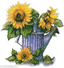 SUNFLOWERS IN CAN SET OF 2 BATH HAND TOWELS EMBROIDERED BY LAURA