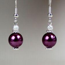 Burgundy pearls silver short drop dangle earrings wedding bridesmaid gift