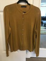 M & S MUSTARD CARDIGAN GOLD BUTTONS SIZE 14