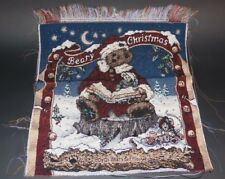 Boyd Bears Beary Christmas Wall Hanging Unfinished Tapestry Craft Fabric Santa