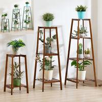 2-4 Tiers Flower Pot Plant Stand Ladder Shelf Display Rack Indoor Outdoor Holder