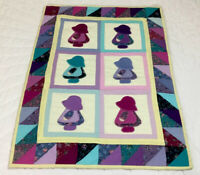 Vintage Small Quilt Wall Hanging, Sunbonnet Sue, Triangles, Patchwork & Applique