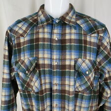 Pendleton Western Wear Cowboy Shirt Wool Plaid Pearl Snap Vintage 1970's