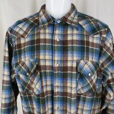 Pendleton Western Wear Cowboy Shirt Wool Plaid Pearl Snap Vintage 1970's