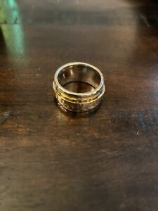 NEW Silpada Sterling Silver Two Tone Hammered Spinner Ring Band Size 8