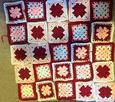 25 Handmade Crochet Granny Squares 5'' Square New Red - Pink - White