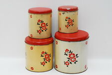 4 Hall Red Poppy Metal Canister Canisters GOOD USED SHAPE