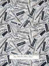 Timeless Treasures - April in Paris Fabric Paris News French Words Off White /Yd
