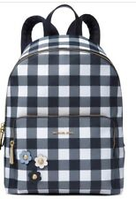 New MICHAEL KORS Gingham Large  Plaid Backpack Navy Blue Bag PVC Tote flower
