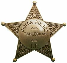 Anstecker Pin Button Sheriff Stern Indian Police Tahleouah messingfarben