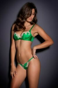 Agent Provocateur Molly Bra Thong Set Green Cream size 34B/2 Small