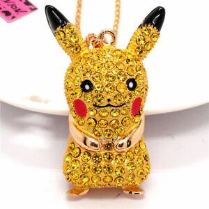 Yellow Rhinestone Crystal Pokemon Pikachu Pendant Betsey Johnson Chain Necklace