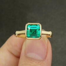 3ct AAA Lab Grown Colombian Emerald CCE Emgagement Ring Genuine 14k Yellow Gold