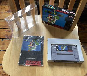 Super Mario World (Super Nintendo SNES, 1991) Video Game + Manual w/ Custom Box