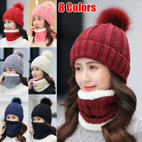 Women Winter Scarf And Hat Set Knitted Warm Beanie Skullcaps Knit Neck Warmer