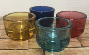 x4 Ikea Tealight Holders, Chunky Glass, Round - Red, Blue, Yellow, Turquoise