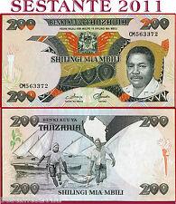 TANZANIA    -  200  SHILLINGS nd 1986   -  Sign 3   - P 18a   -  SPL+ / XF