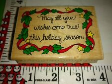 May all wishes come true holiday season, hero arts,97,rubber,stamp, wooden