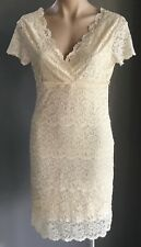 Pre-owned Cream TEMT Short Sleeve Stretch Lace Empire Waist Tier Dress Size S/8