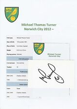 MICHAEL TURNER NORWICH CITY 2012-  ORIGINAL HAND SIGNED CUTTING/CARD