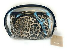 Beloved Accessories 2 Makeup Bags Clear & Leopard Animal Print Cosmetic Bag