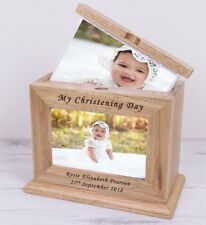 Personalised Christening Photo Wooden Album Book With Sleeves Girls & Boys Baby