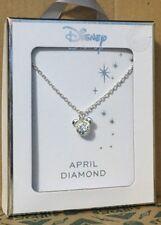 Licenced Disney Mickey Mouse Ears Silver Birthstone Necklace & Pendant Primark April Diamond