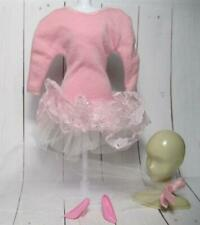 Vintage Barbie Doll cloth 1988 #1292 Knit Lace Knit Dinner Date Dress Pink Tulle