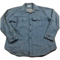80s VTG FIVE BROTHER FLANNEL Shirt XL Blue Made USA Chambray Railroad Tweed
